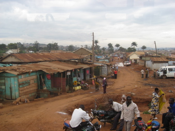 Slums only 5 minutes from downtown Kampala